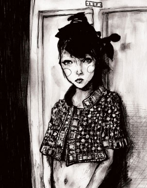 Lily Cole Black and white Fashion Illustration of her wearing a jacket full of jewls