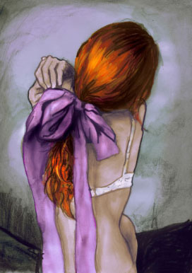Girl With red hair nude back with purple bow