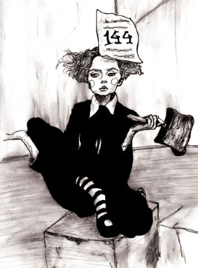 Lily Cole Fairy Tale Like black and white Illustration sitting with paper on her head