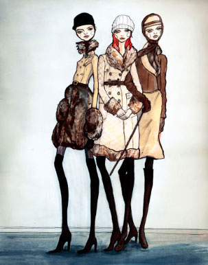 # Girls standing in Burberry Coats