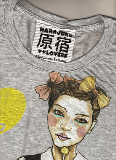 Photo of Fashion Illustrator danny roberts first Shirt collection collaboration with Gwen Stefani Harajuku Lovers Music Tee