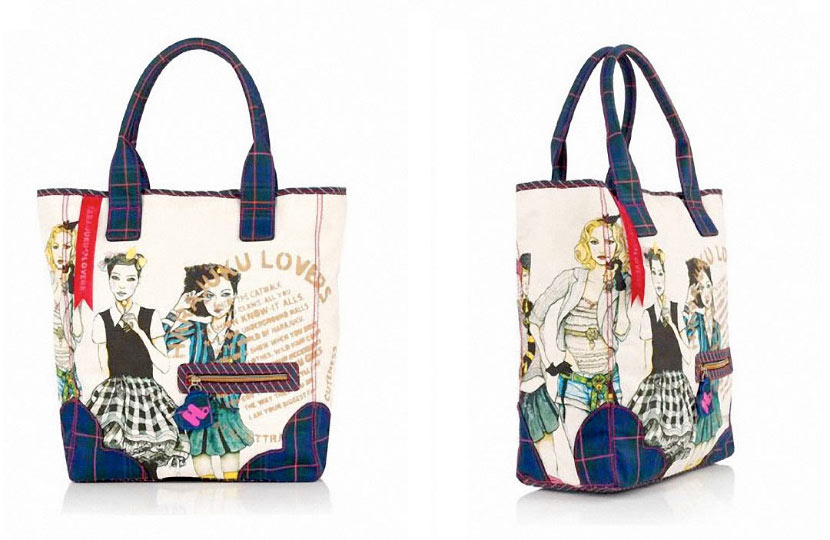 Photo of Fashion Illustrator danny roberts first handbag collection collaboration with Gwen Stefani Harajuku Lovers photo from bloomingdales dot com