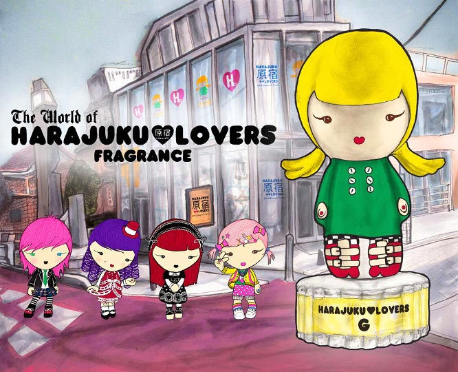Horizontal ad for Harajuku Lovers Fragrance by Gwen Stefani of tokyo street corner and perfume bottles by Danny Roberts