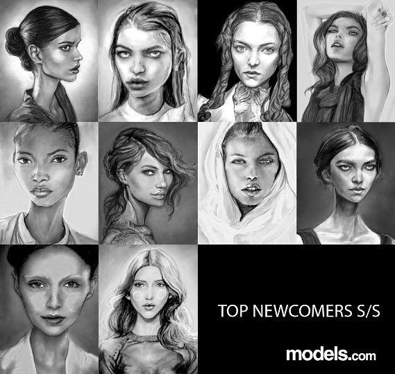 Danny Roberts Painting of fresh faces Arizona Muse, Bambi Northwood Blyth, Britt Maren, Daphne Groeneve ,Hailey Clauson, Iris Egbers, Julia Saner, Maddie Kulicka, Marcelia Freesz, Melodie Monrose, Theres Alexandersson for models dot com Top Newcomer spring 2011