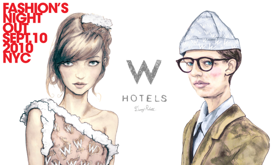 Igor and andre Fashion Artist Danny Roberts Fashion Week and Fashion Night Out invite Collaboration with Starwood Hotels W Hotel