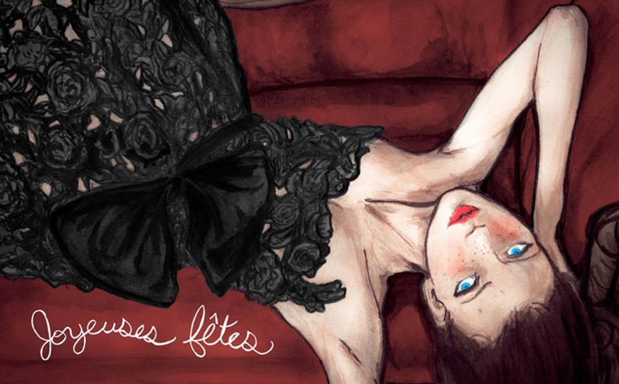 Artist Danny Roberts Fashion Painting of A model laying on her back in Valentino for lancome