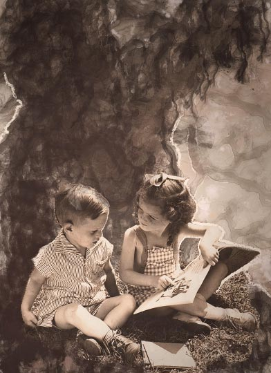 Artist danny roberts collage for Whats Contemporary of his aunt teaching a boy how to read