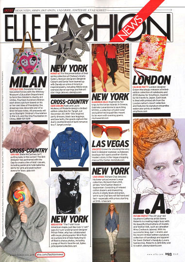 a page from elle magazine december 2009 issue featureing Artist Danny Roberts