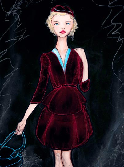 Artist Danny Roberts Whats Contemporary designer Fashion Collection red Velvet Dress