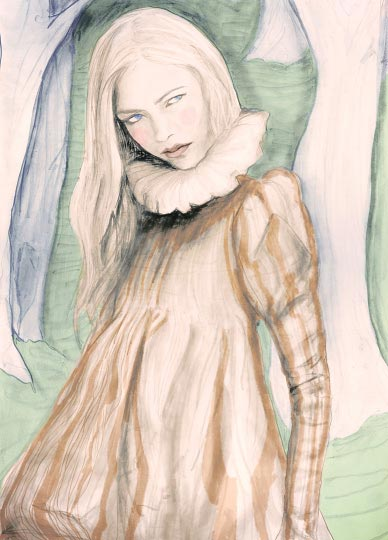 Artist Danny Roberts Painting of a girl in the Forest Wearing a dress Alexander Mcqueen fall 2006