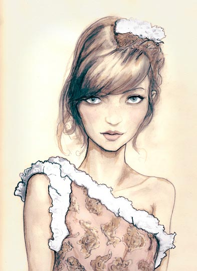 Danny Roberts Art Painting of a beautiful girl in chanel spring 2010 collection