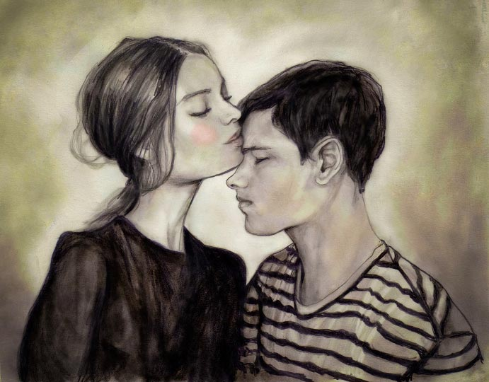 Artist Danny Roberts Self portrait of kissing a beautiful girl both profile eyes close