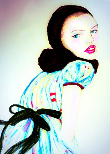 Artist Danny Roberts Painting of A Thief in the Night girl inspired by junko shimada fall 2009 Paris Fashion Week Collection