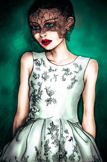 Fashion Illustration by Danny Roberts Painting of a girl with a black veil wearing Jason wu.