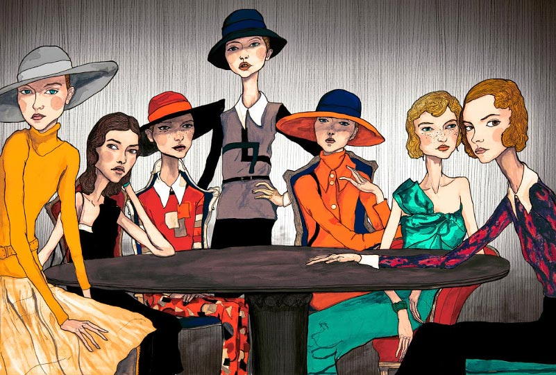 This is Danny Roberts Fashion Illustration of Marce Jacobs 2007 collection. girls sitting around a table.