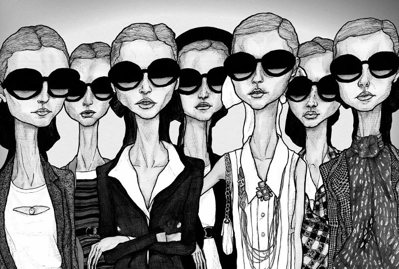 Artist danny roberts girls in glasses black in white fashion illustration