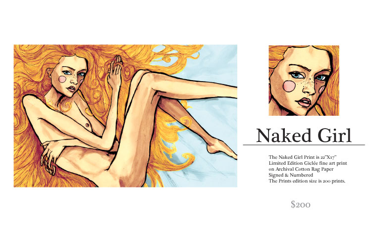 Magazine Art of a girl laying down naked, it was painted by Danny Roberts