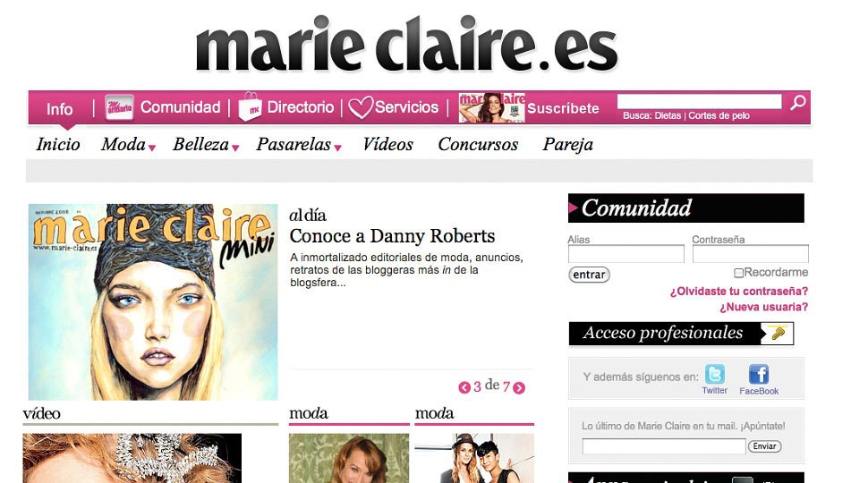 Artist Danny Roberts Web Feature on Marie Claire Spain Homepage