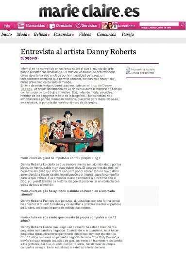 Page 1 of Artist Danny Roberts Web Feature on Marie Claire Spain Homepage