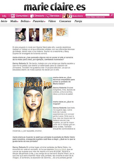 Page 2 of Artist Danny Roberts Web Feature on Marie Claire Spain Homepage