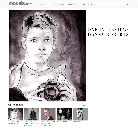Cover Story of Models dot com featuring artist Danny Roberts