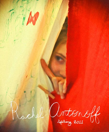 Artist Danny Roberts Photo of a girl Peeking between a white and Red Sheet held together by a close pins. Picture is from Rachel Antonoff Spring 2011 Collection