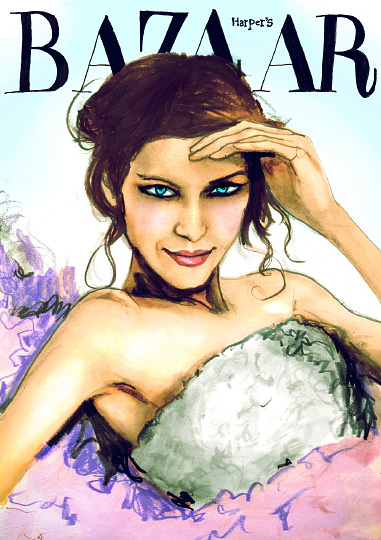 Danny Roberts Painting of Inspired by Harpers Bazaar Magazine Cover With MTV Host Alexa Chung