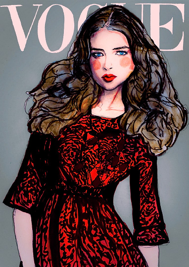 Art by Danny Roberts painting is Inspired by Paola Kudacki for Vogue Latino America Febuary 2009 Cover.