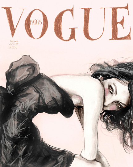 Fashion illustration by Danny Roberts is inspired by Vogue Paris December 2004 /January 2005 Cover of Sofia Coppola by Mario Testino.