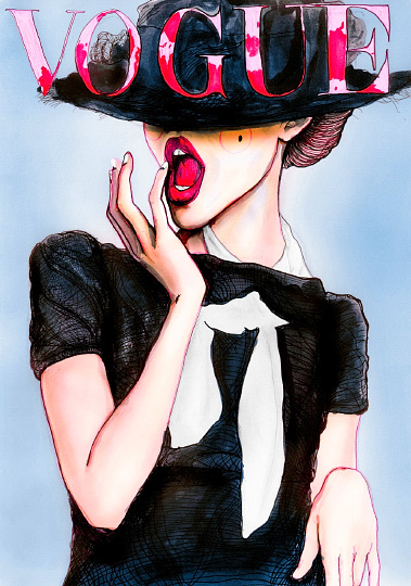 Fashion illustration by Danny Roberts inspired by Vogue Germany March 2010 Cover with Frida Gustavsson & photographed by Greg Kadel.