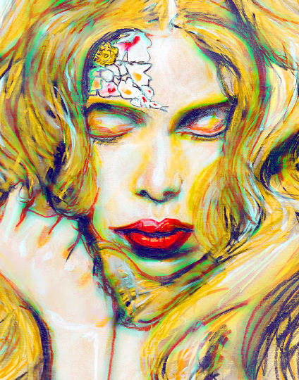 Art by Danny Roberts Fashion Artist Danny Roberts Painting of Fashion Model Tanya Dziahileva her eyes are closed and hair everwhere