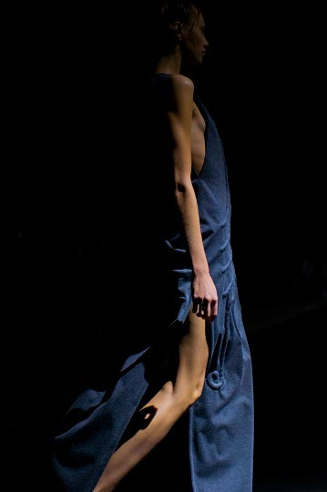 Dark Outlined silhouette of a skinny model in Designer Christian Dada Spring 2012 in Tokyo Fashion week