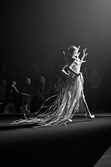 Danny roberts Black and white photo of a girl in a white antler finale dress in christian dad spring 2012 tokyo fashion week collection