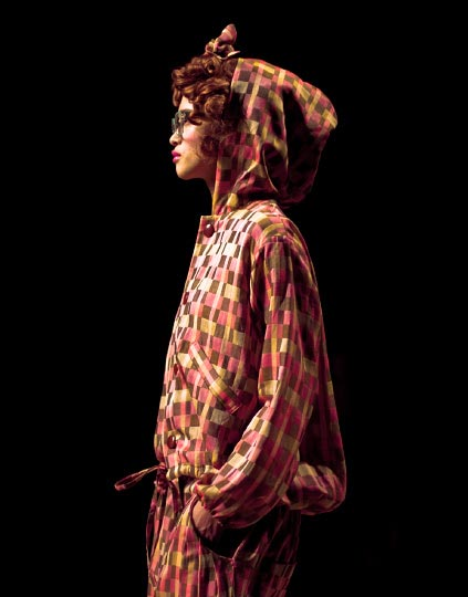 Danny Roberts Phot of a girl model silhouette in a fade red hooded jump suite in designer everlasting sprout 2012 collection tokyo fashion week