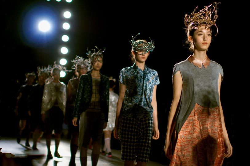 Artist Danny Roberts Photo of model walking down the collection finale of Mint Design spring 2012 collection for Tokyo Fashion Week