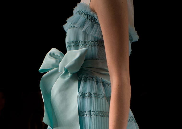 Photographer Danny Roberts close up Picture of a Beautiful blue dress with a bow from Miss Ashida spring 2012 collection for Tokyo Japan Fashion