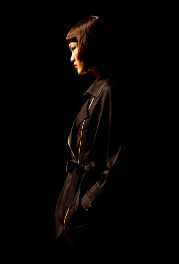 Danny Roberts Picture of the Profile of a japanes girl with black hair and backdrop over coat in Montonari Ono Spring 2012 Fashion Show Tokyo Fashion Week
