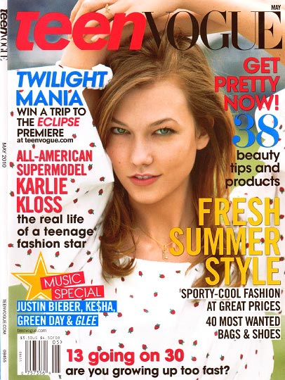 Cover of Teen Vogue With Karlie Kloss