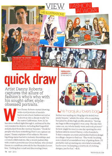 Artist Danny Roberts First Printed Feature in Teen Vogue