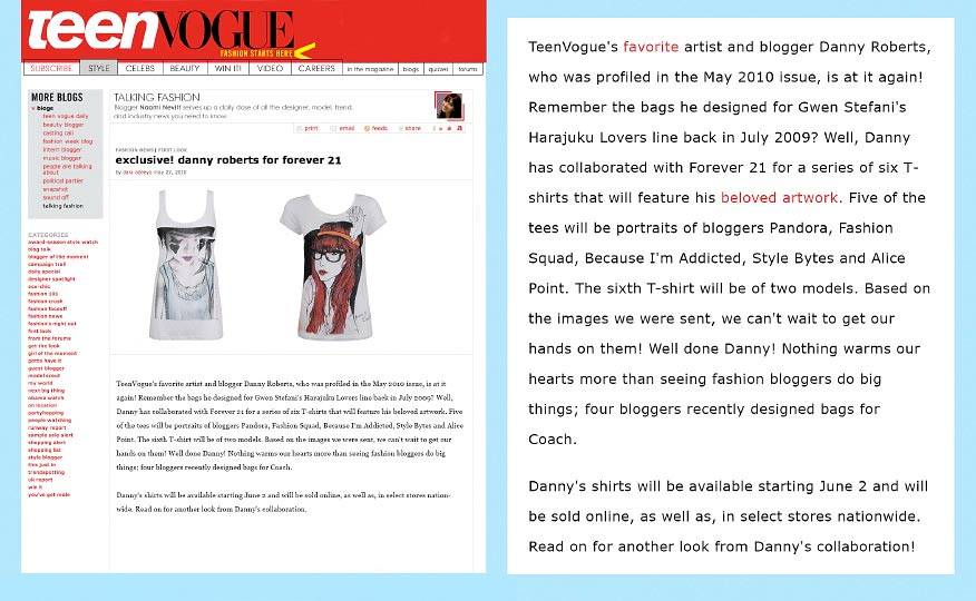 Teen Vogue Web Feature on Artist and illustrator danny roberts on his collaboration with Forever21