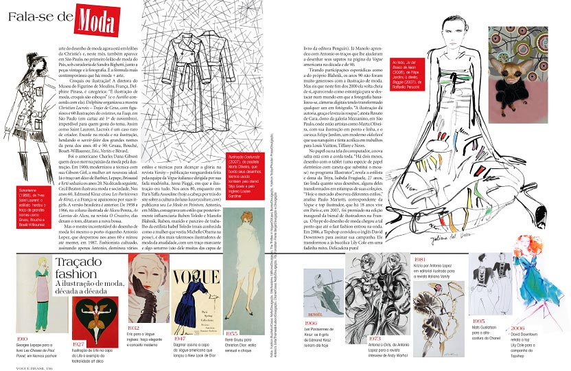 Page 2 and 3 of artist danny roberts printed feature in Vogue Brazil October 2009