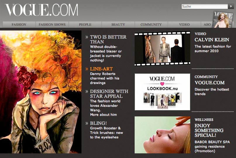 Artist Danny Robert Web Feature on the homepage of Vogue GermanyVogue