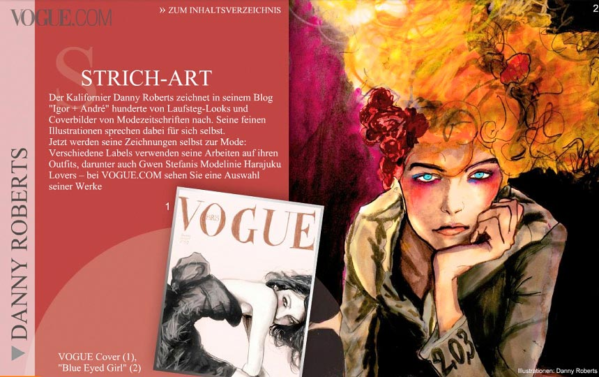 Page One of Artist Danny Roberts web feature in Vogue Germany show casing his Sofia Coppola french vogue reinterpreted cover