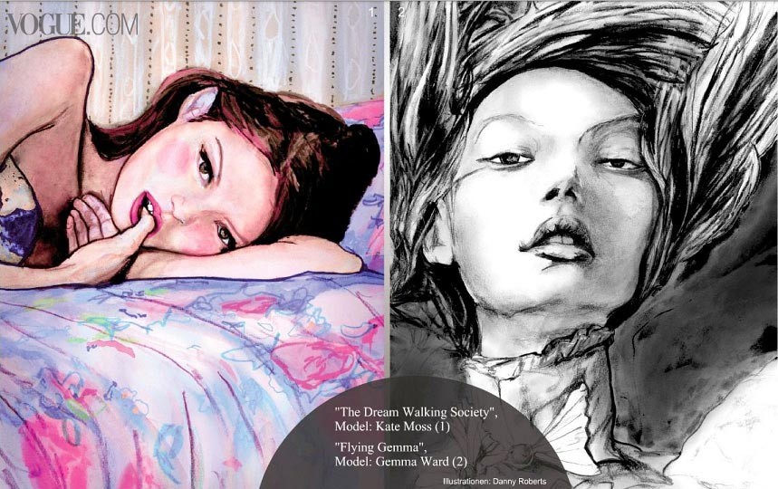 Page two of Artist Danny Roberts web feature in Vogue Germany show casing his flying gemma ward black and white drawing and dreamwalking painting