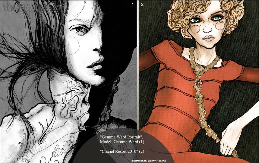 Artist Danny Roberts web feature in Vogue Germany show casing Black and white gemma ward and red dress chanel drawing